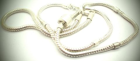 Three white metal bead style bracelets. P&P Group 1 (£14+VAT for the first lot and £1+VAT for
