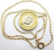 9ct gold neck chain, 2.4g. P&P Group 1 (£14+VAT for the first lot and £1+VAT for subsequent lots)