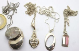 Four silver pendant necklaces, two stone set. P&P Group 1 (£14+VAT for the first lot and £1+VAT