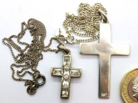 Two silver crosses and chains, one stone set. P&P Group 1 (£14+VAT for the first lot and £1+VAT