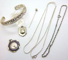 Two silver neck chains, two silver fobs, bangle and pin brooch. P&P Group 1 (£14+VAT for the first