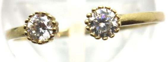 9ct gold open ring set with two white stones, size M/P/Q, 0.9g. P&P Group 1 (£14+VAT for the first