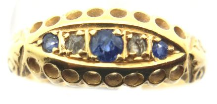 Antique 18ct gold sapphire and diamond ring, size L, 2.1g. P&P Group 1 (£14+VAT for the first lot