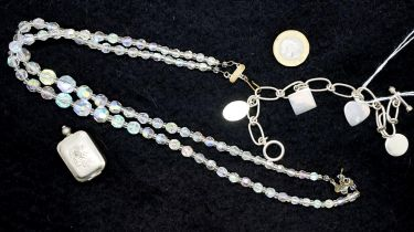 Two modern silver bracelets, a two string crystal necklace and a silver plated vinaigrette. P&P