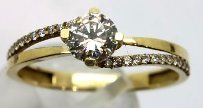9ct gold solitaire ring, size P, 1.5g. P&P Group 1 (£14+VAT for the first lot and £1+VAT for