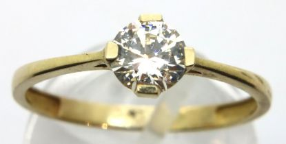 9ct gold solitaire ring, size Q, 1.3g. P&P Group 1 (£14+VAT for the first lot and £1+VAT for