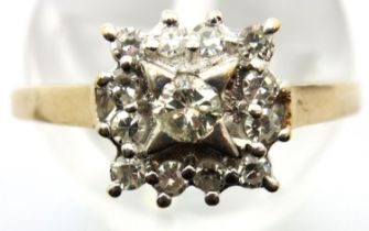 9ct gold diamond set cluster dress ring, size P. 2.3g. P&P Group 1 (£14+VAT for the first lot and £