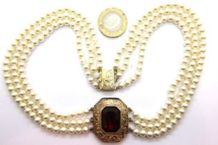 Silver, gilt and pearl necklace. P&P Group 1 (£14+VAT for the first lot and £1+VAT for subsequent