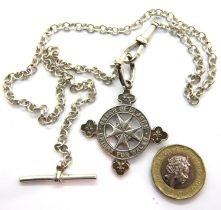 Silver wristwatch chain and St Johns Ambulance silver fob for 1932, 32g. P&P Group 1 (£14+VAT for