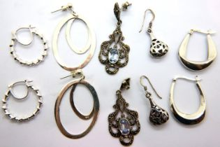 Five pairs of silver earrings including a stone set example, combined 27g. P&P Group 1 (£14+VAT