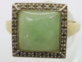 9ct gold cushion cut jade set ring surrounded by small diamonds, size V, 4.2g. P&P Group 1 (£14+