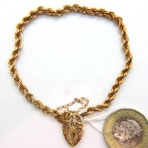 9ct gold rope bracelet with padlock clasp and safety chain, 3.4g. P&P Group 1 (£14+VAT for the first