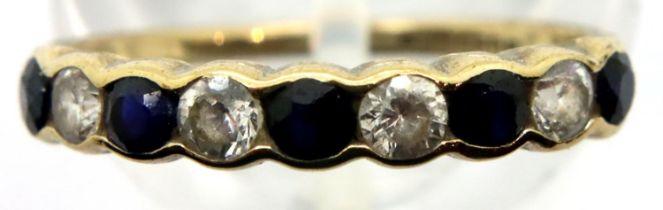 9ct gold hallmarked diamond and sapphire half eternity ring, size K, 1.2g. P&P Group 1 (£14+VAT