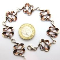 Sterling silver bracelet. L: 20 cm, 17g. P&P Group 1 (£14+VAT for the first lot and £1+VAT for
