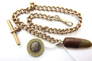 9ct gold pocket watch chain with claw clasp, T bar and stone fob, fob weight 6.0g, combined 54.9g.