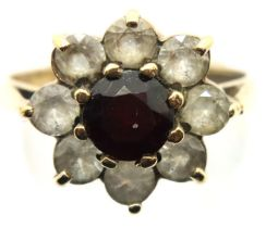 9ct gold garnet and topaz ring, size S, 3.6g. P&P Group 1 (£14+VAT for the first lot and £1+VAT