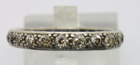 Presumed 18ct white gold diamond and sapphire eternity ring, size Q. P&P Group 1 (£14+VAT for the