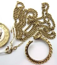 Yellow chain and a broken 9ct gold half sovereign mount 8.1g. P&P Group 1 (£14+VAT for the first lot
