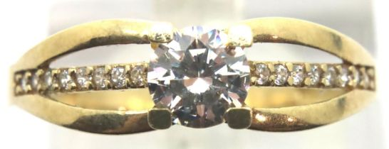 9ct gold solitaire ring with stone set shoulders, size P. P&P Group 1 (£14+VAT for the first lot and