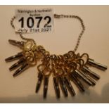 Complete set of fourteen pocket watch keys. P&P Group 1 (£14+VAT for the first lot and £1+VAT for