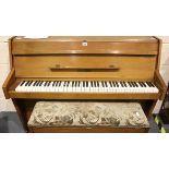 Zender wooden short piano. Not available for in-house P&P, contact Paul O'Hea at Mailboxes on