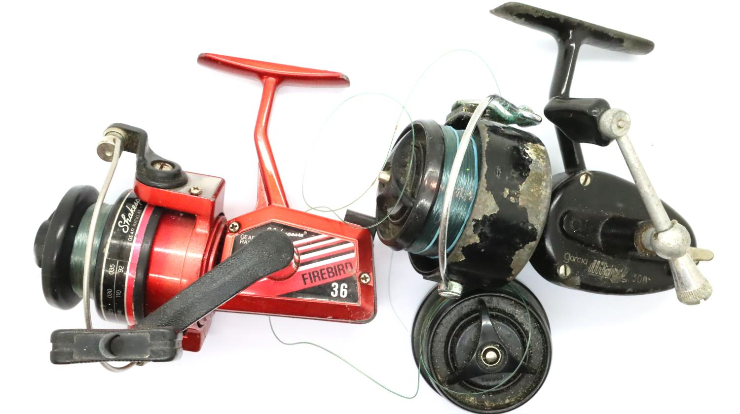 A Shakespeare Firebird 36 fishing reel and extras. P&P Group 2 (£18+VAT for the first lot and £3+VAT