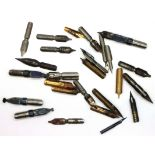 Mixed named pen nibs including a cyclist example. P&P Group 1 (£14+VAT for the first lot and £1+