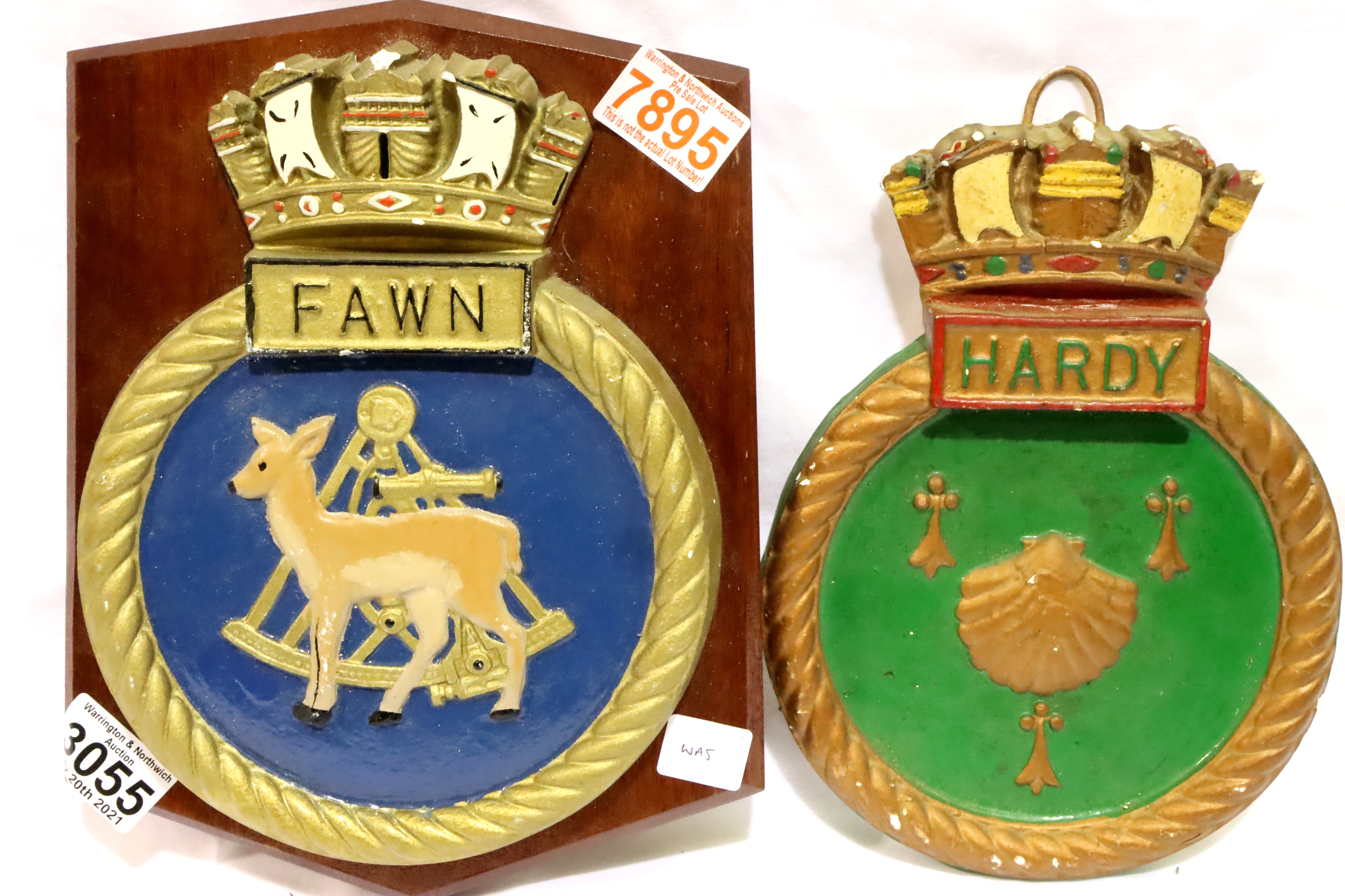 Vintage HMS FAWN plaster wall plaque, mounted on a mahogany shield, 27 x 21 cm, with an un-mounted
