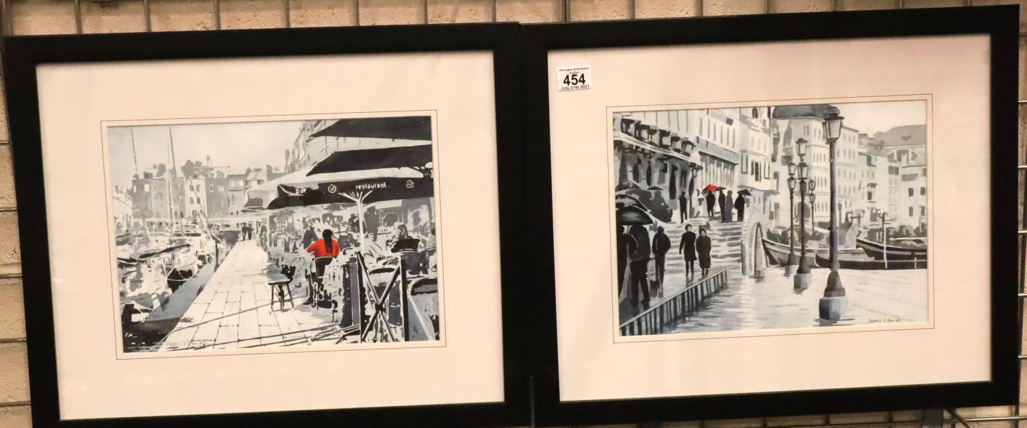 Pair of framed Dennis S. Davies with watercolours of Venice. Not available for in-house P&P, contact