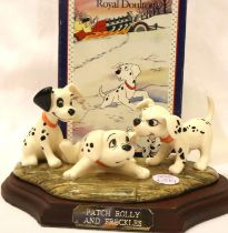 Royal Doulton limited edition Dalmatians figurine, Patch, Rolly and Freckles, 2910/3500, L: 7 cm.