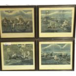 Set of four antiquarian prints, The First Steeplechase On Record, plates I-IV after the original