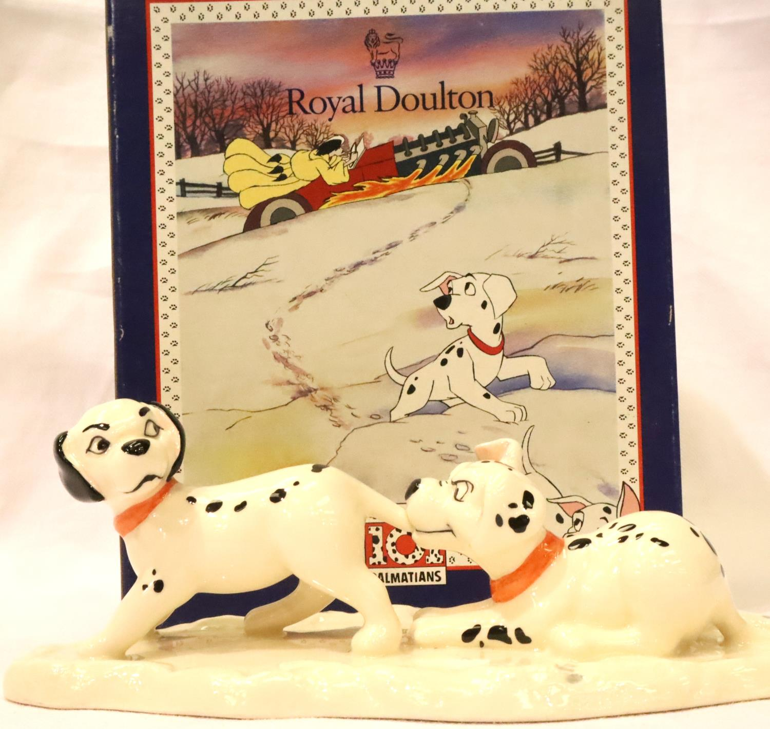 Royal Doulton limited edition Dalmatians figurine, Lucky and Freckles on ice, L: 7 cm. P&P Group