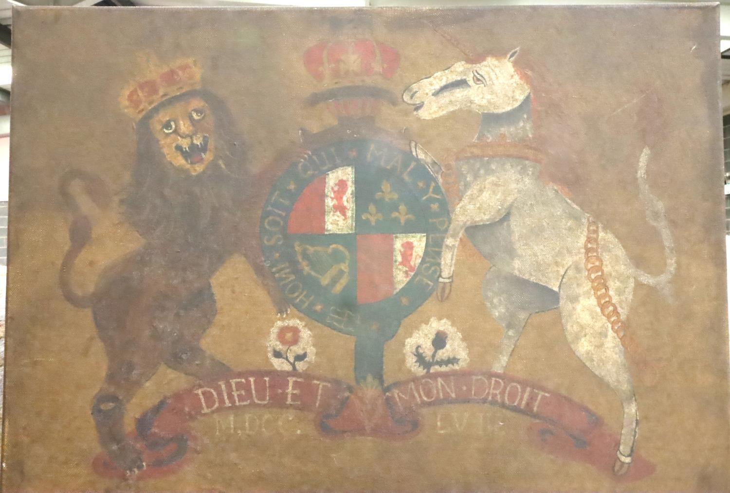 Oil on canvas depicting George IV Coat of Arms. P&P Group 2 (£18+VAT for the first lot and £3+VAT