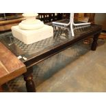An oak and wrought iron coffee table. Not available for in-house P&P, contact Paul O'Hea at
