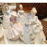 Three Suedehill porcelain ladies and one other (unmarked). Not available for in-house P&P, contact
