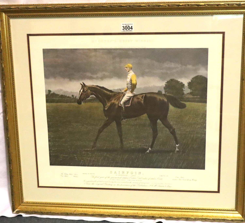 Sainfoin, McQueen's Derby Winner print, framed, 80 x 90 cm including frame. Not available for in- - Image 2 of 3