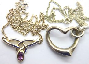 Two silver necklaces. P&P Group 1 (£14+VAT for the first lot and £1+VAT for subsequent lots)