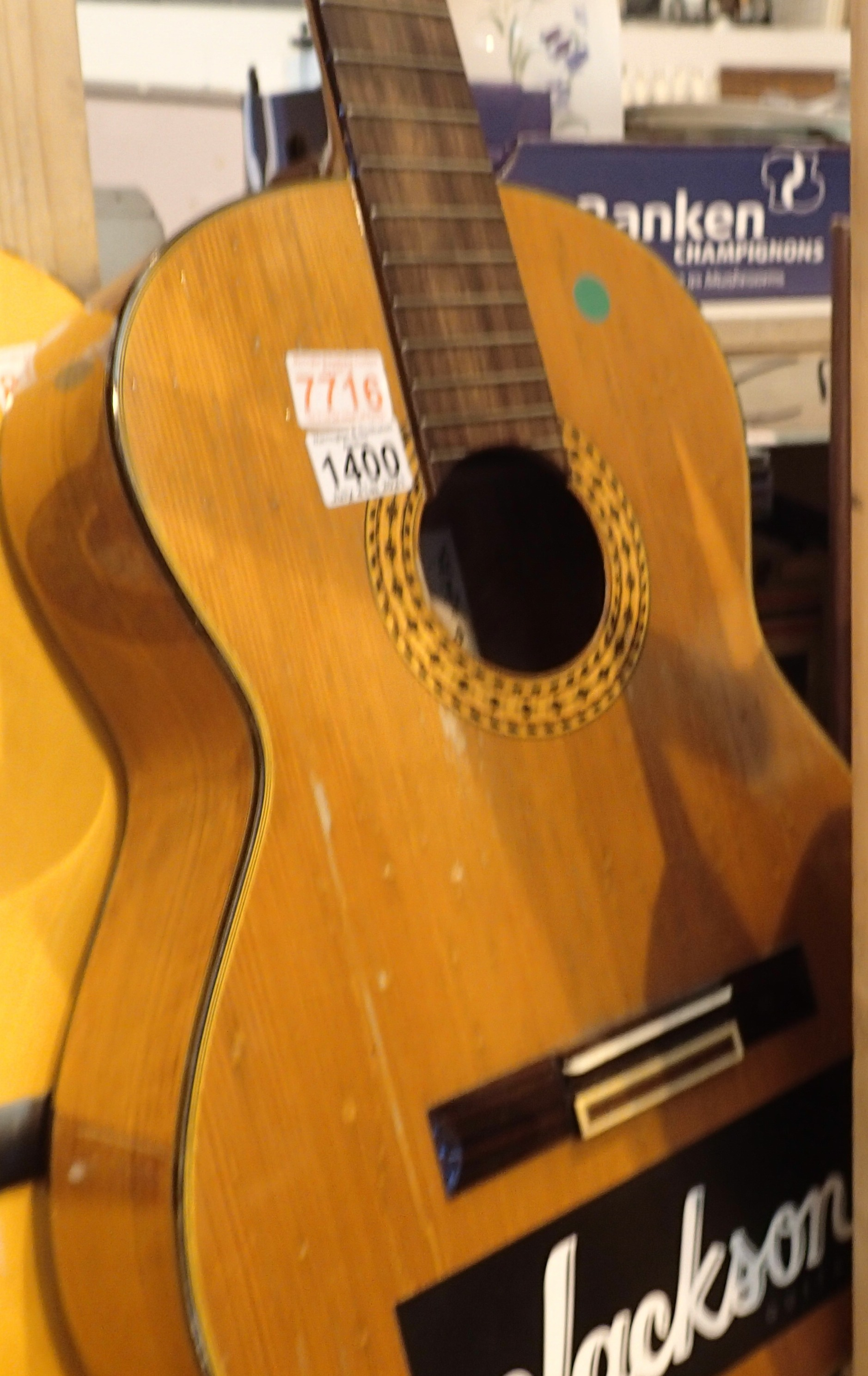 Kimbara six string acoustic guitar. Not available for in-house P&P, contact Paul O'Hea at