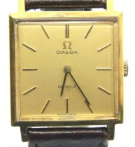Omega; gents Deville mechanicals wristwatch, gold plated with square dial. P&P Group 1 (£14+VAT