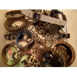 Box containing a selection of modern ladies costume jewellery to include bangles, dress watch etc.