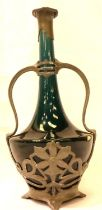 A late 19th Century turquoise ceramic bottle vase, metal mounted in the Art Nouveau manner, H: 31