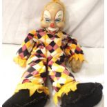 Soft fabric bodied clown with soft plastic polythene type head, H: 50 cm. P&P Group 3 (£25+VAT for