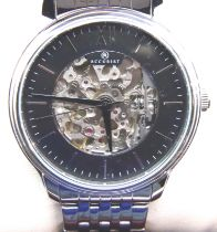 Accurist; gents automatic skeleton wristwatch. working at lotting up. P&P Group 1 (£14+VAT for the