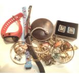 A mixed lot of costume jewellery and other items to include fashion watches, gold coloured jewellery