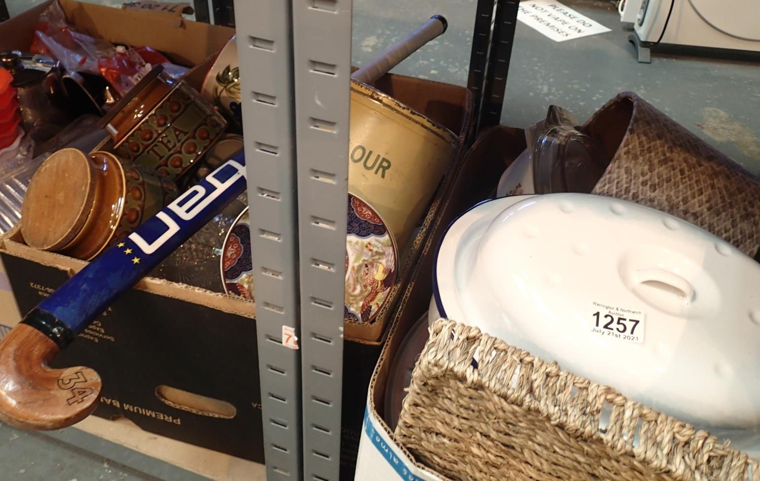 Two boxes of mixed glass, ceramics to include an enamelled casserole dish. Not available for in-