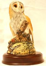 Royal Doulton barn owl on wooden plinth, H: 20 cm. P&P Group 2 (£18+VAT for the first lot and £3+VAT