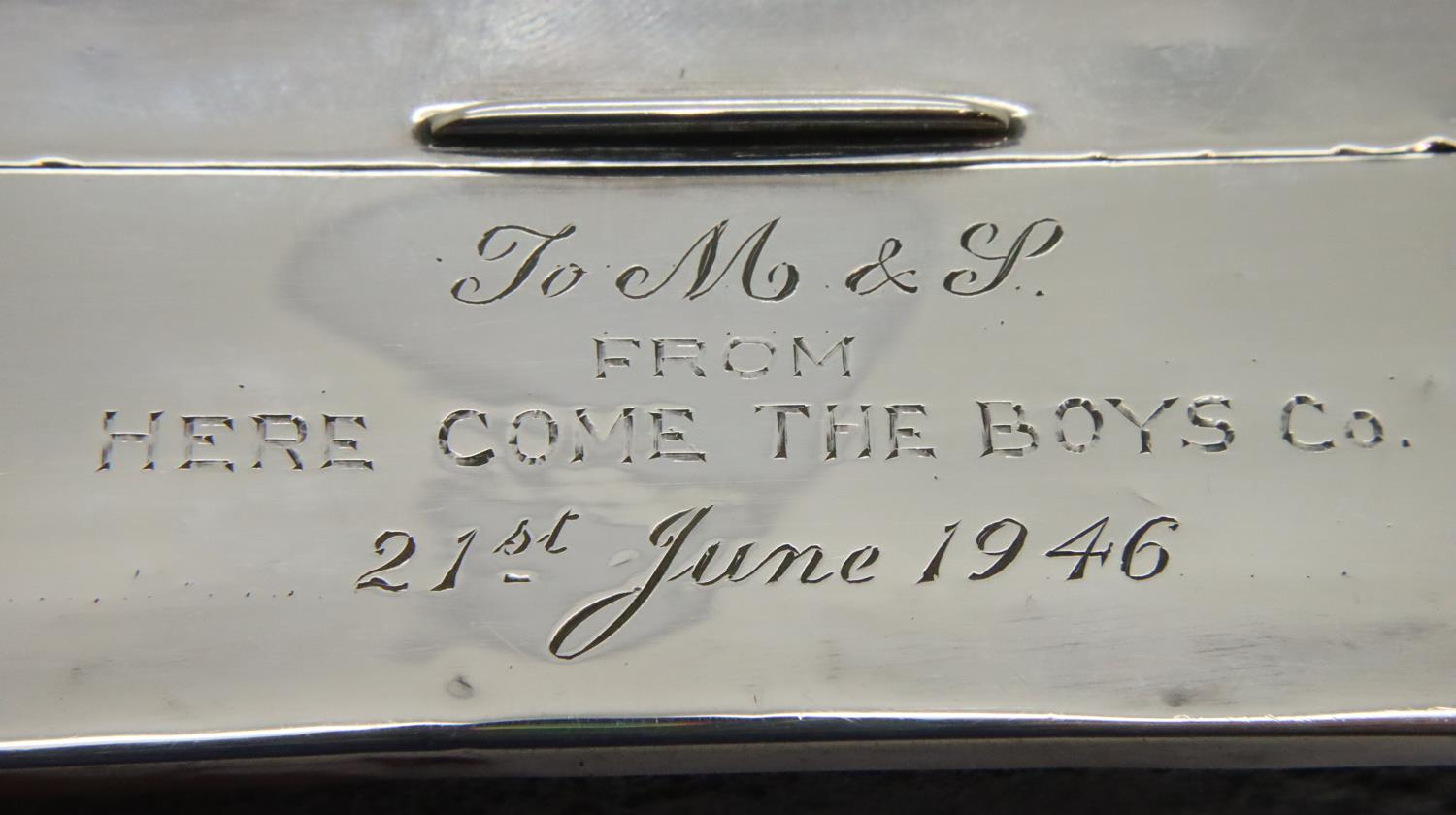 Hallmarked silver cigarette box, cedar lined and dated 1946 by inscription. P&P Group 1 (£14+VAT for - Image 3 of 4