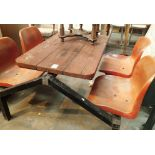 Metal framed outdoor table with four plastic chairs. Not available for in-house P&P, contact Paul