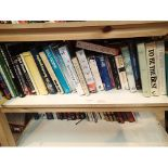 Two shelves of mixed books. Not available for in-house P&P, contact Paul O'Hea at Mailboxes on 01925