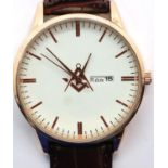 New gents wristwatch with day and date aperture (French) and Masonic emblem, working at lotting. P&P